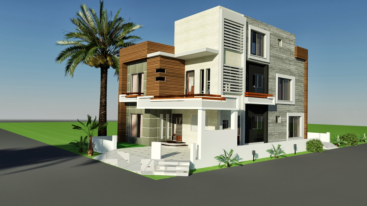 3d Front Elevation Corner House : D front elevation marla corner house plan design