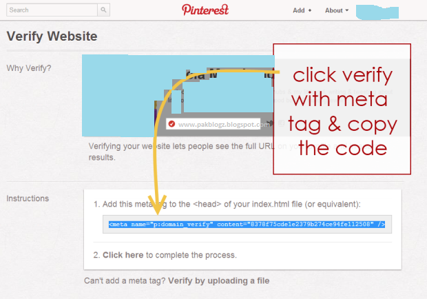 How To Verify Pinterest Account With Blogger Web Site