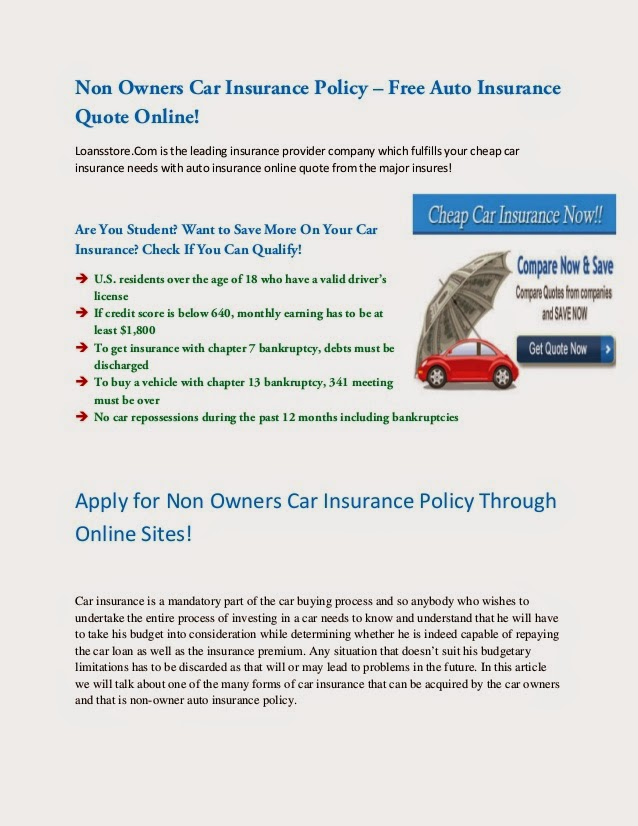 Non Owner Car Insurance Quote Unique Non Owners Insurance Quote  Raipurnews