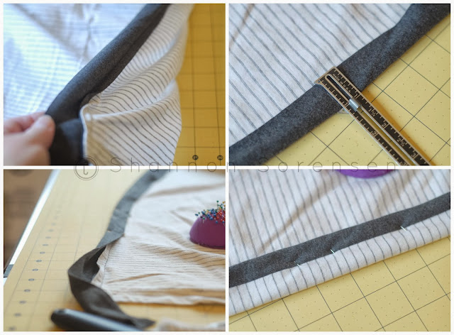 shirt to cardigan refashion how to add binding