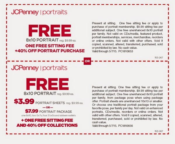 JCPenney Portraits Coupons & Promo Codes. 2 verified offers for December, Coupon Codes / Gifts & Collectibles / Cards / JCPenney Portraits Coupon. Add to Your Favorites. from 17 users. Take a look at our 2 JCPenney Portraits discount codes including 2 sales. Latest Free Shipping Offers. Holiday Sales. Get our Emails.