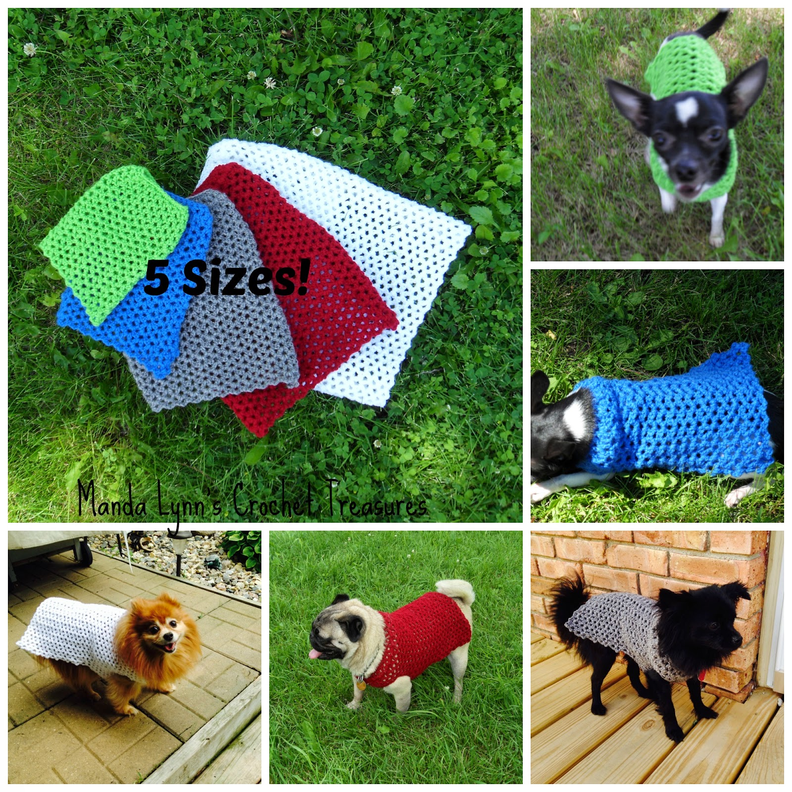 MandaLynn\'s Crochet Treasures : Crochet Any Occasion Dog Sweater 5 Sizes