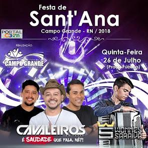 Cavaleiros do Forró e Wonney Saraiva neste dia 26 de Julho na Festa de Sant'Ana em Campo Grande