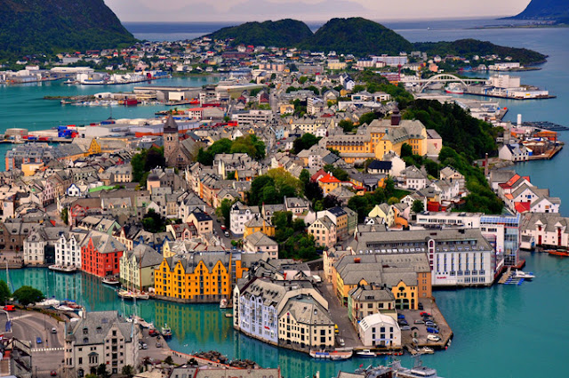 norway alesund birdseye city