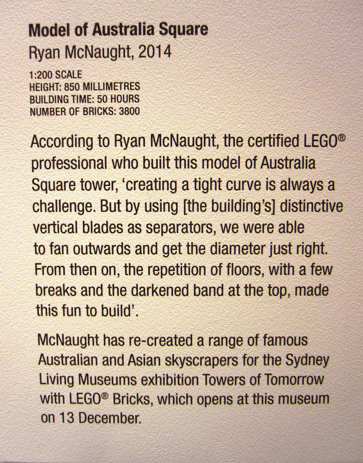 Exhibition card for the Lego model of Australia Square.