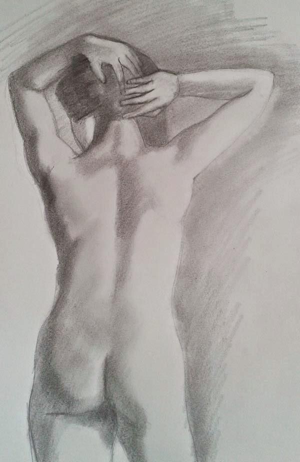 desnudo de espaldas drawing