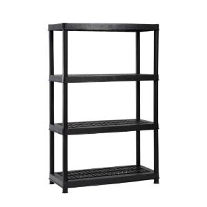 black plastic ventilated storage shelving unit for stockpiling