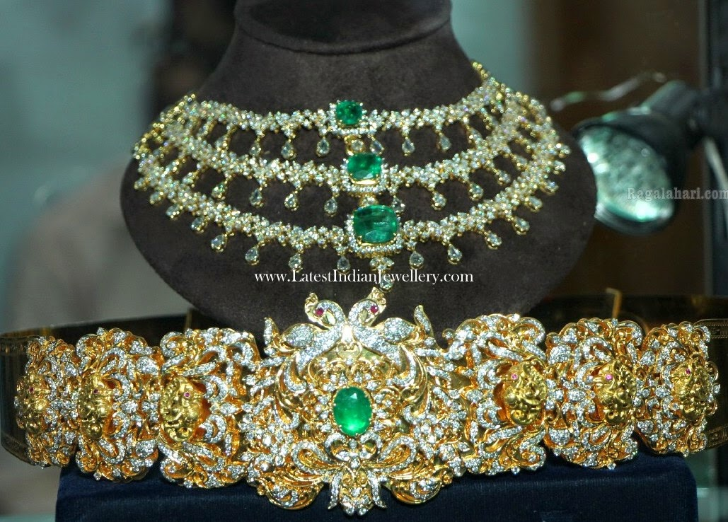 indian diamond necklace vaddanam set