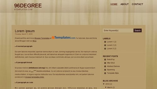 96degree - Free Blogger Template