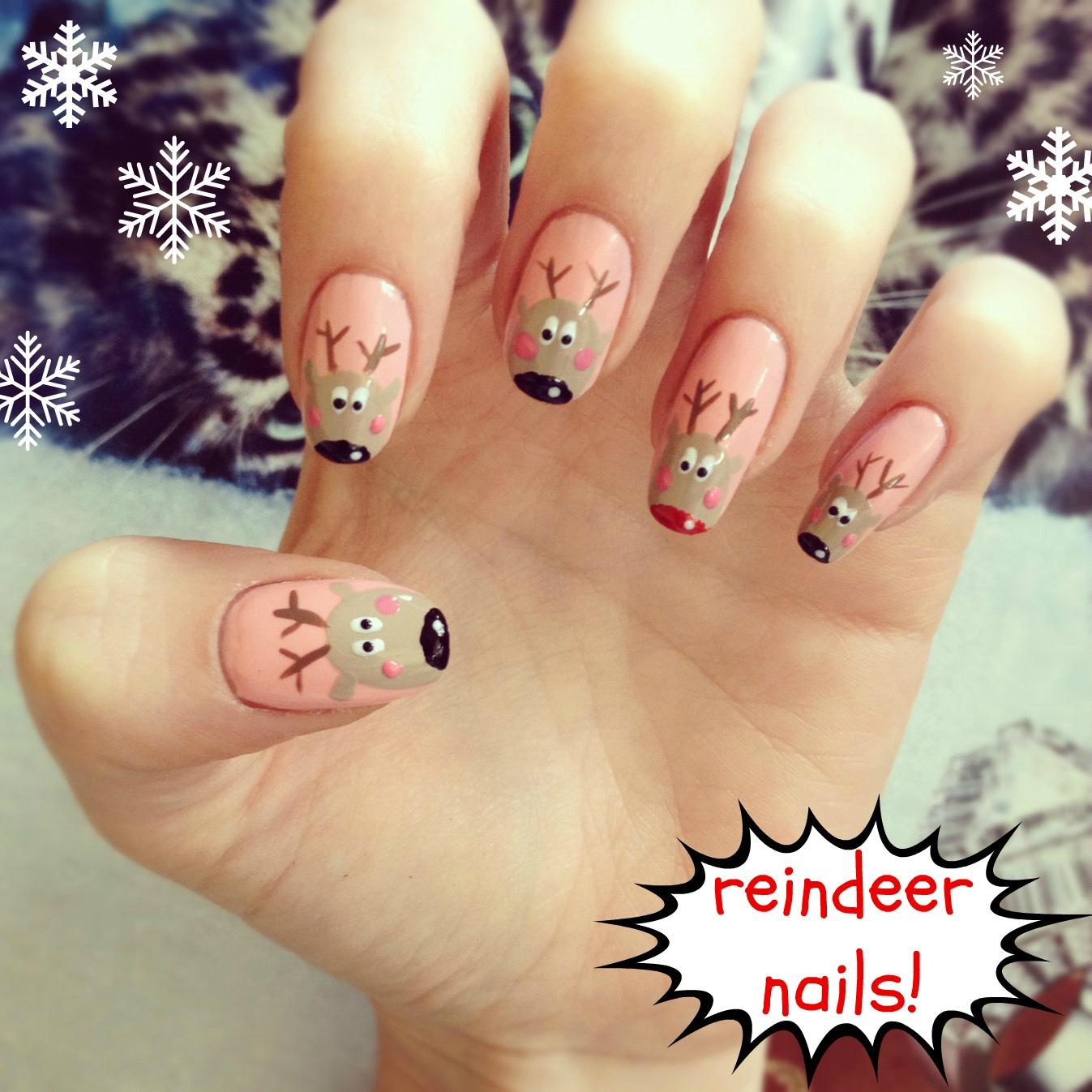 Christmas nails rudolph nail art burkatron christmas nails rudolph nail art prinsesfo Images