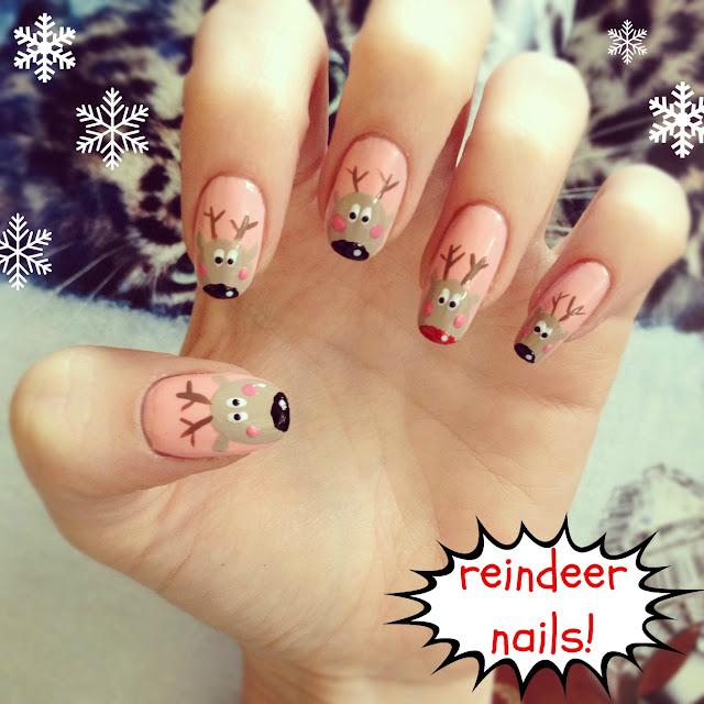 Reindeer Nail Art: Christmas Nails! Rudolph Nail Art: