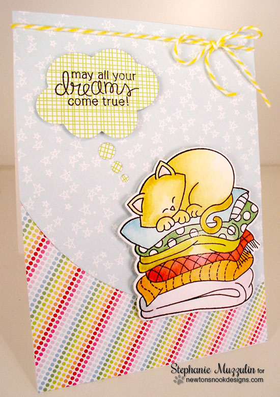Dreaming Cat Card by Stephanie Muzzulin | Newton's Naptime Stamp set by Newton's Nook designs