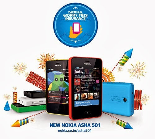 Nokia diwali offers free insurance on asha 501 smartphone for Wallpaper for home screen nokia asha 501