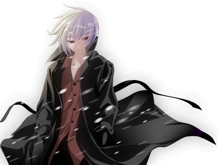 anime boy with white hair. anime boy with black hair.