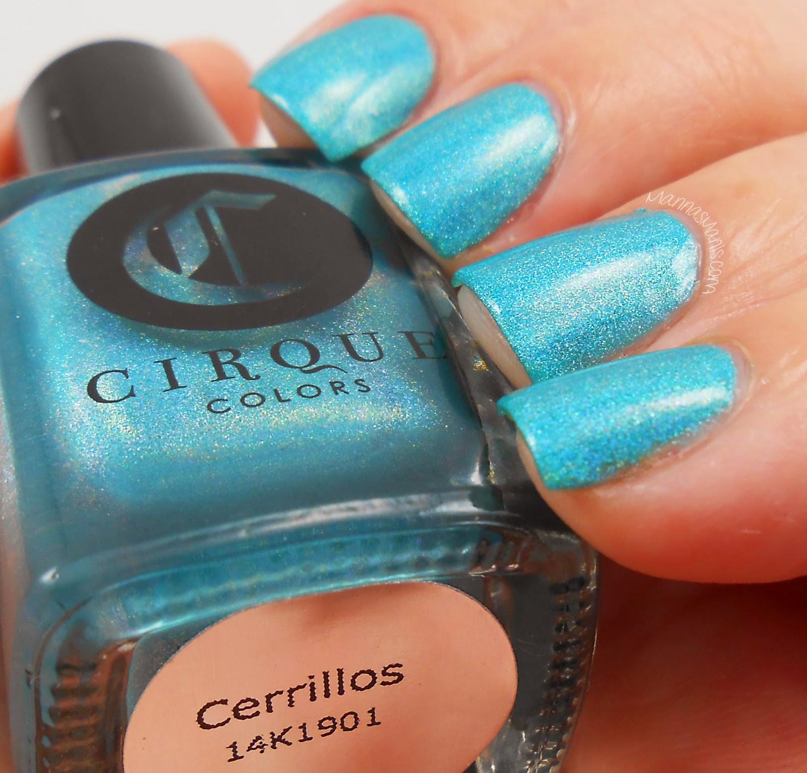 cirque colors cerrillos, a blue holographic nail polish
