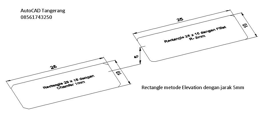 Rectangle Dengan Elevation,Thickness dan Width pada AutoCAD.