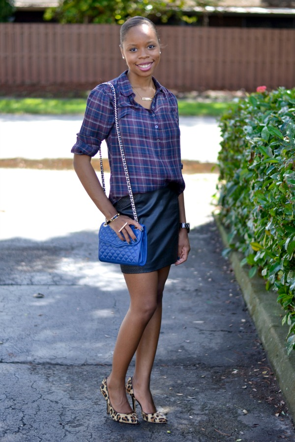 Plaid Shirt + Leather Skirt + Leopard Heels | Fall Outfit Ideas