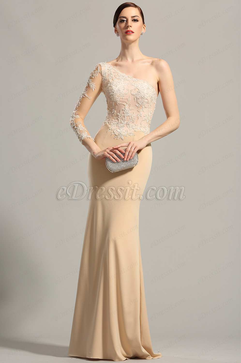 Edressit long lace sleeve formal party evening dress