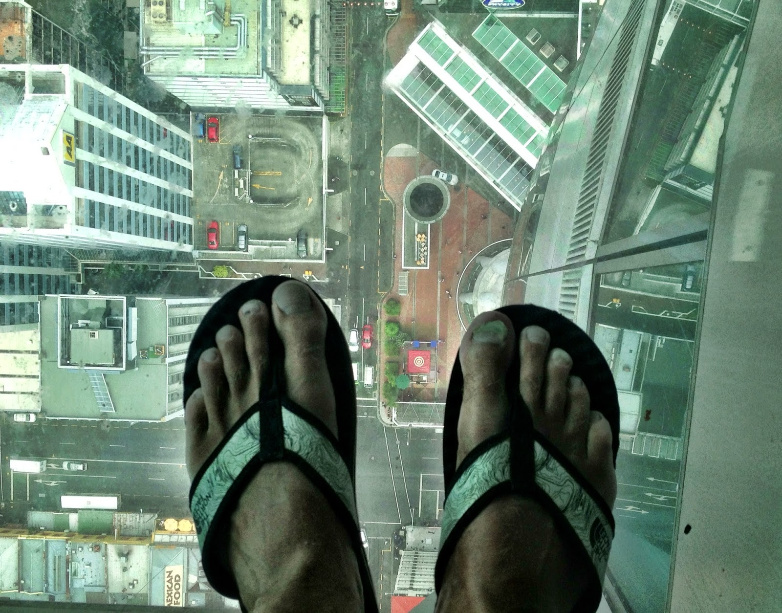 Glass floor on the Sky Tower observation deck