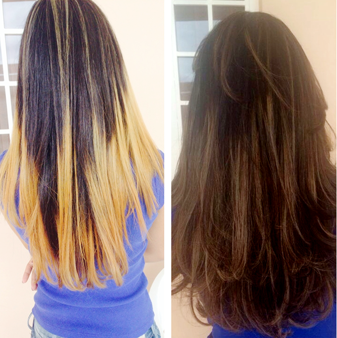Imagem com o antes e depois do ombre hair da Luisa Tavares.