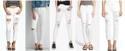 Boohoo Sara Ripped Boyfriend White Jeans $20.00 (regular $44.00) similar  American Eagle Hi Rise Jegging $39.99 (regular $49.95)  Express White Mid Rise Distressed Jean Legging $52.80 (regular $88.00)  Treasure & Bond Ankle Skinny Jeans $52.80 (regular $88.00)  7 For All Mankind Distressed Relaxed Skinny Jeans $147.00 (regular $245.00)