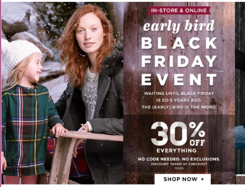 Old Navy Early Bird Black Friday Event Save 30% Off + Overnight Millionaire Giveaway