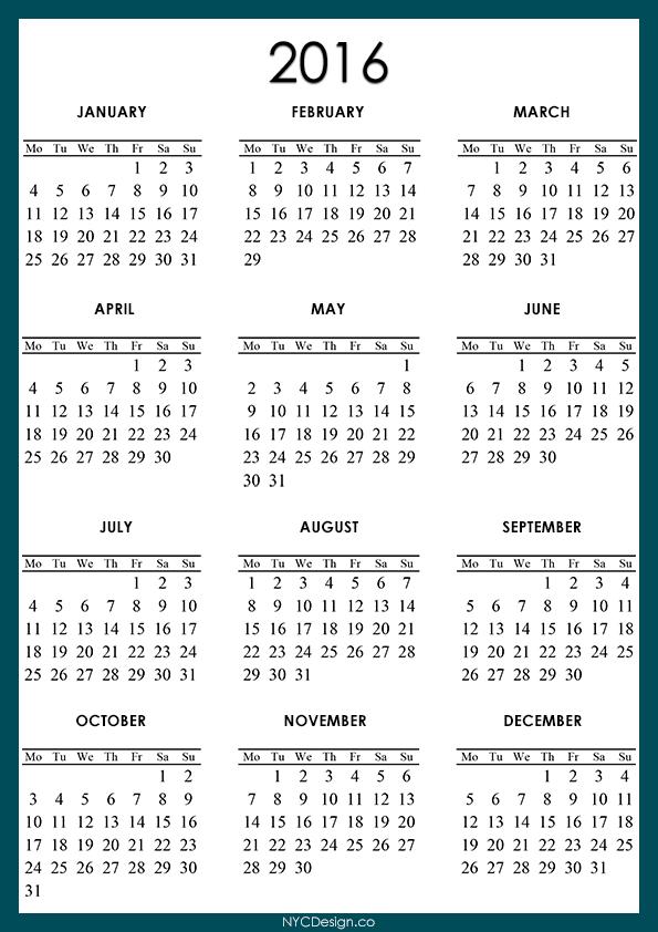 New york web design studio new york ny 2016 calendar printable a4