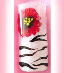 Бял коледен маникюр с червени цветя