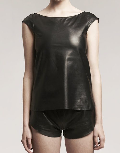camiseta minimanga basicLeather, leather top