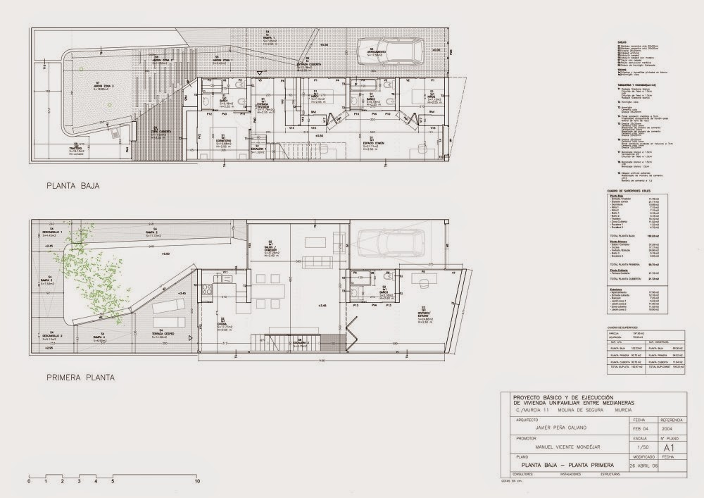 planos de casas entre medianeras