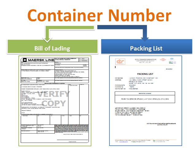 should the container number be mentioned on the packing list