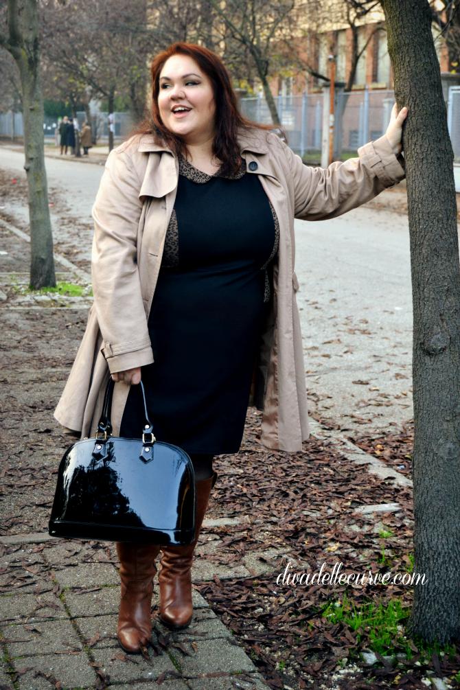 outfit plus size con recensione abito nero e animalier di curvy love blogger divadellecurve
