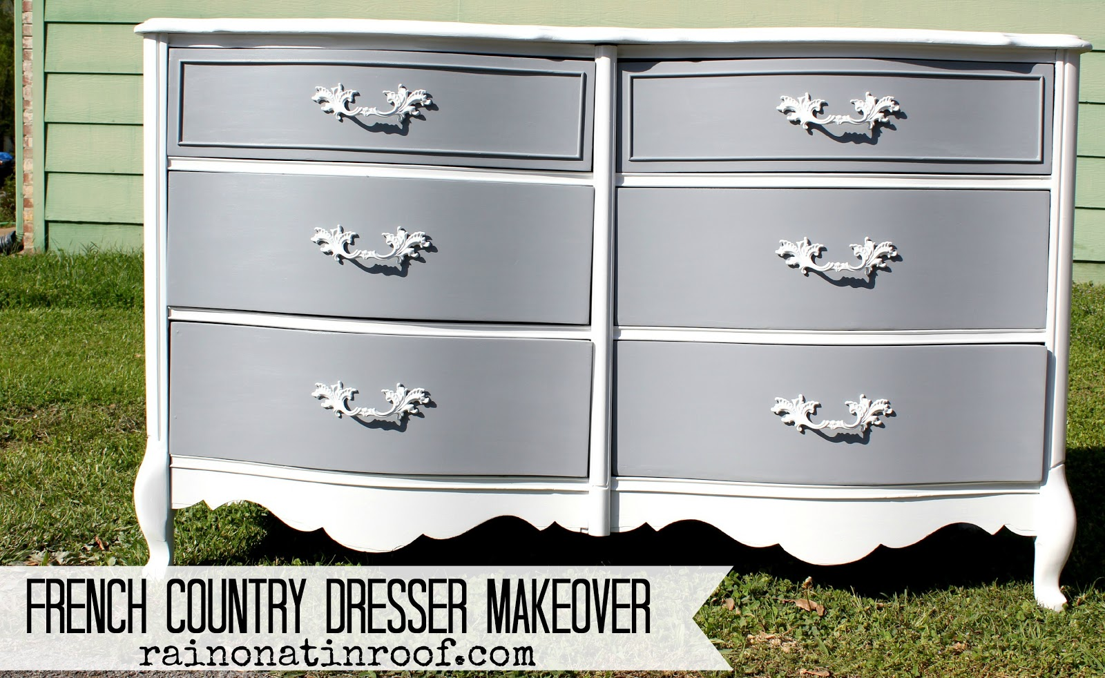 French Country Dresser Makeover With Homemade Chalk Paint  {rainonatinroof.com} #frenchcountry #
