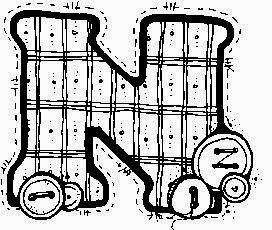 desenho de alfabeto de tecido e botoes para pintar letra N