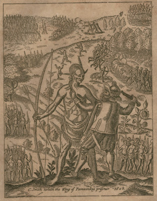 Rare 1600s engraving showing John Smith holding the American Native Chief