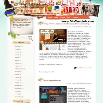 High Seas Adventures in Belgium blogger template from wordpress. blogger template for travel blog. free blogspot template