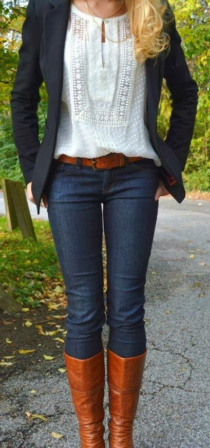 Adorable Black Jacket and Jeans, Blouse and Long Boots with Suitable Belt