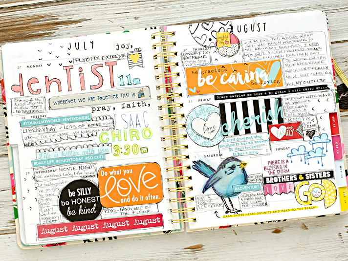 sharing my mixed media creative weekly family memory planner | August 2015 Week 1