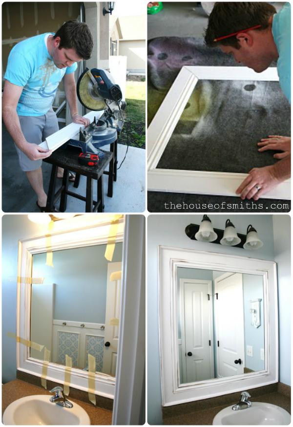 How to frame a mirror in bathroom