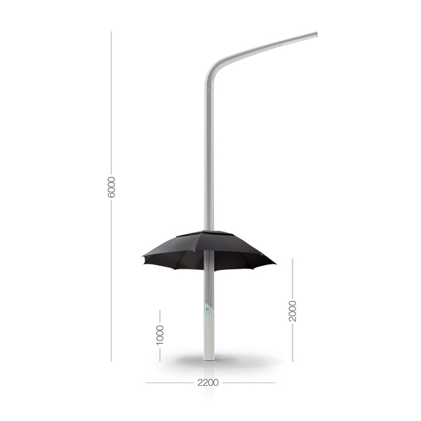 Dimensions of the street lamp with umbrella