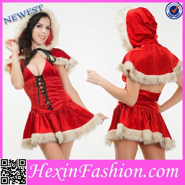 Wholesale Velvet Hooded Red Fur Adult Christmas Ornament Costume