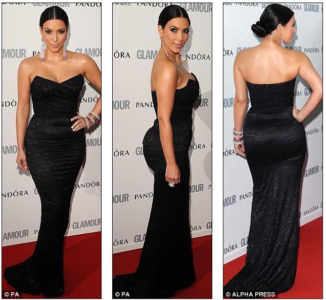 porslend: Kim Kardashian steals the show in figure-hugging black ...