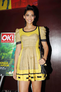 Sonam Kapoor Launhces OK! Magazine in Mumbai Wearing a Stylish Casual Mini Dress with Strange Body Print