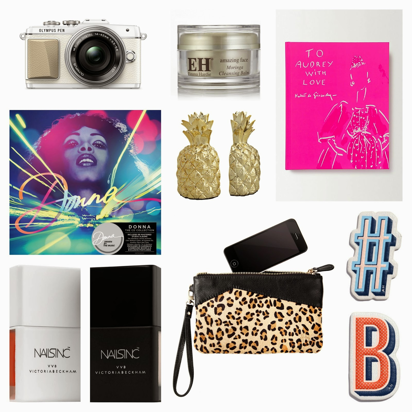 What to get the mama who has everything - or doesn't want anything this Christmas! | christmas gifts | gift guide | womens gifts | luxe gifts | selfrisges | handbag butler | anya hind march } donna summer | bookends | pineapple | audrey hepburn book | camera | selfie | olympus pen camera | nails inc | victoria beckham | cleanser | gifts for mums | womens gifts | mamasVIB