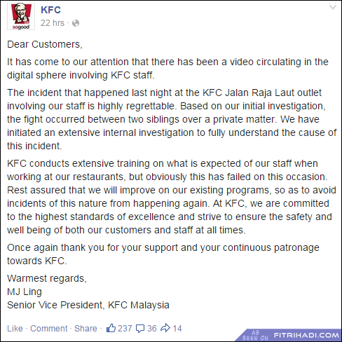 (Video) Aksi Gaduh Pekerja KFC Jalan Raja Laut