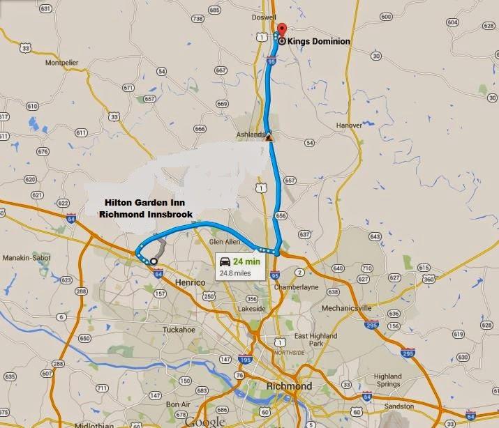 map showing Hilton Garden Inn Richmond Innsbrook is 24min/24miles from Kings Dominion Richmond
