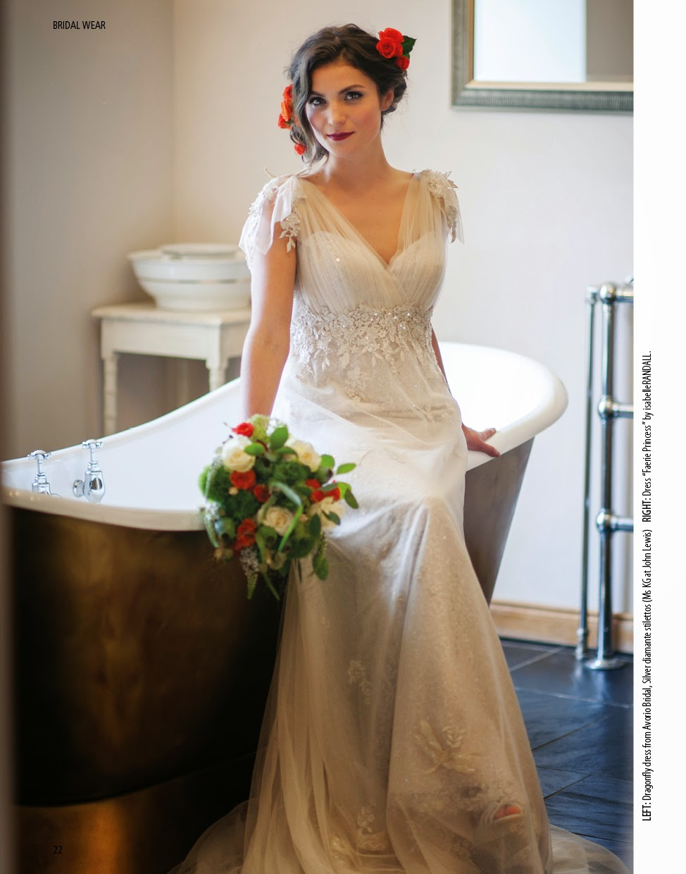 Autumnal bouquet and tousled hair with floral hair accessories compliment this Ian Stuart bridal gown