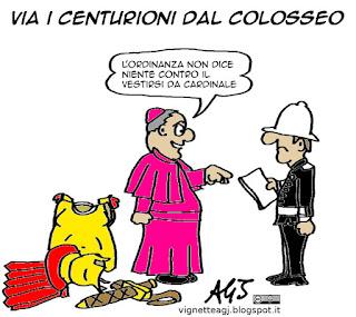 Colosseo, Centurioni, Giubileo, Tronca, vignetta satira