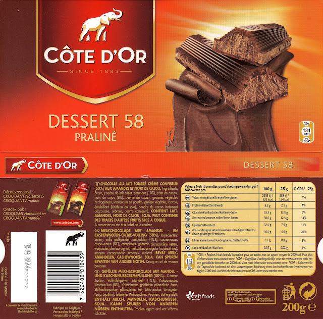 tablette de chocolat lait fourré côte d'or dessert 58 praliné lait