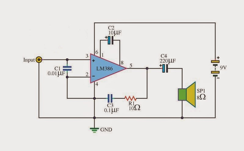 make a simple audio amplifier using lm386